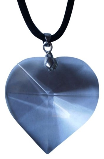 Other New Clear glass faceted heart necklace