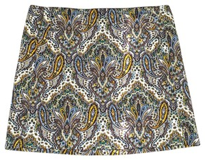 J.Crew Mini Mini Skirt Maroon, gold, purple paisley