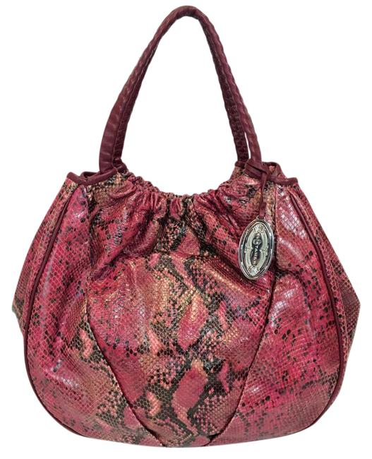 Elie Tahari Emmy Red Raspberry Snake Print Embossed Leather Hobo Bag Elie Tahari Emmy Red Raspberry Snake Print Embossed Leather Hobo Bag Image 1