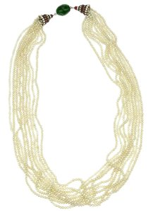 Chanel Chanel Vintage Multi Strand Pearl Gripoix Crystal Necklace