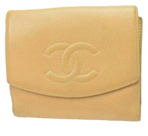 Chanel France Caviar Leather Biofold wallet coin purse Beiges