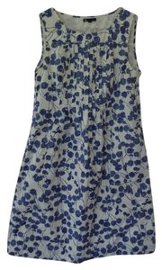 Gap short dress White with Cornflower Blue Cherry Design Cotton A-line Shift on Tradesy