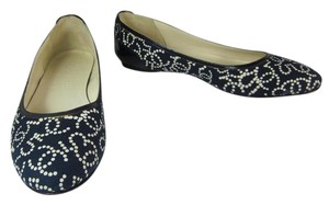 Chanel Cc Logo Navy Leather Flats