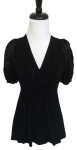 BCBGMAXAZRIA Cap Sleeve Silk Top Black