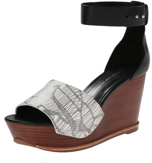 Item - Black and White Murray Wooden Sandals Wedges Size US 9.5 Regular (M, B)