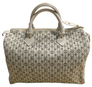 Louis Vuitton Speedy Mini Lin Satchel in Beige Blue
