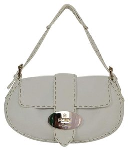 Fendi Leather Silvertone Baguette