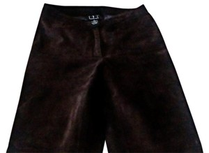 INC International Concepts Vintage Leather Straight Pants Brown suede