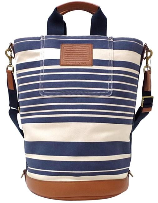 Item - Unisex Heritage Barrel Tote Travel F71275 Vintage Stripe Light Beige and Navy Canvas with Leather Trim Beach Bag