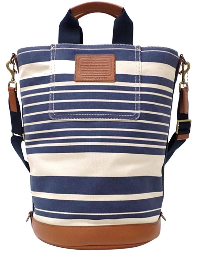 Coach Mens Travel Crossbody Tote Light Beige And Navy Beach Bag
