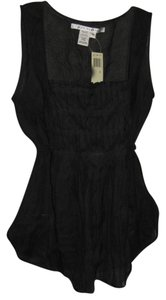 Max Studio Linen Pleated Top black