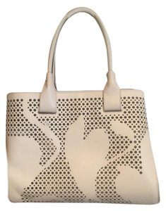 Tod's Perforated Leather Satchel in IVORY