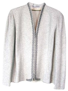 St. John Long Sleeve Pad Beaded Silver Jacket