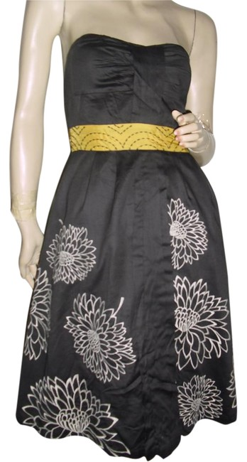 Preload https://img-static.tradesy.com/item/17199982/floreat-brown-gold-beige-strapless-embroidered-sunflowers-embroidered-waist-sweetheart-neckline-knee-0-1-650-650.jpg
