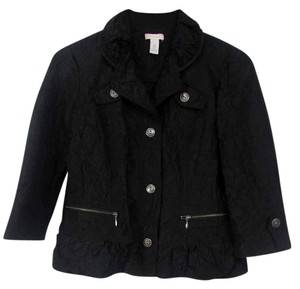 Chico's 3/4 Sleeves Button Down Collared Zip Black Jacket