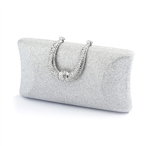 Mariell Stunning Glittery Silver Textured Minaudiere Bridal Or Evening Clutch