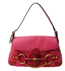 Gucci Pink Monogram Canvas Shoulder Bag