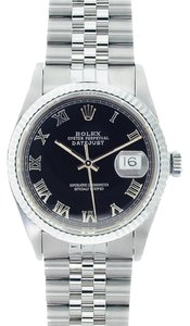 Rolex Rolex Men's DateJust Stainless Steel Black Roman Dial Watch 16014
