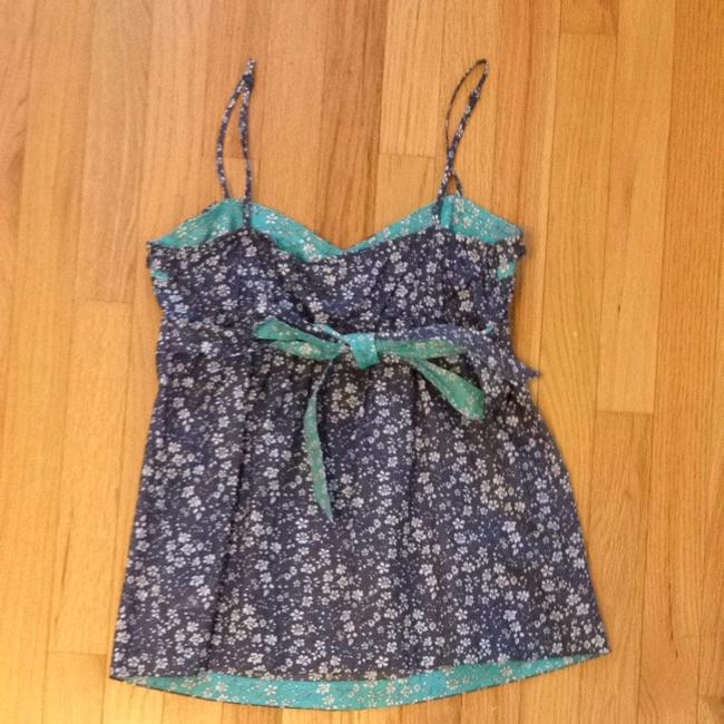American Eagle Outfitters Ae Aeo Summer Floral Preppy Blue Turquoise Top Navy