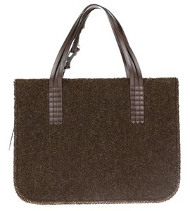 Chanel Wool Leather Square Tote in Brown