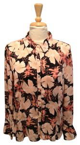 Alfani Floral Sheer Button Down Shirt Peach, Black, Coral