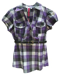 HeartSoul Top Purple,black, white check