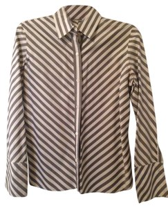 Banana Republic Button Down Shirt Gray And White Stripes