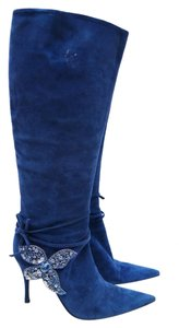Sergio Rossi Suede Pelle Blue Boots