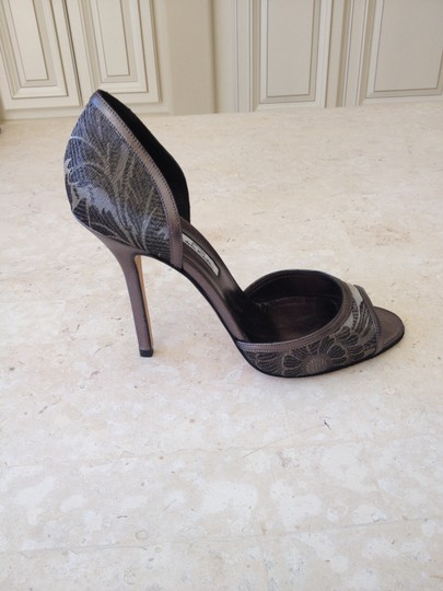 Oscar de la Renta Stiletto Peep Toe Two-tone Leather Grey Pumps