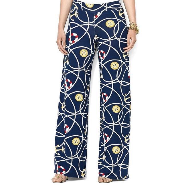 Item - Navy Multi Jersey Nautical Anchor-print Stretch Viscose 1x Pants Size 12 (L, 32, 33)