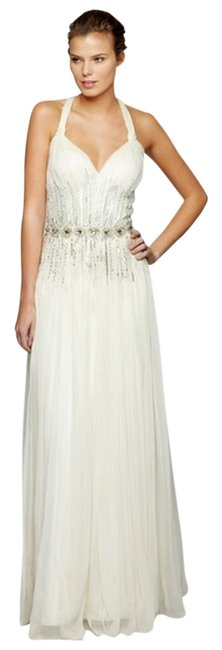 Mignon Vintage Chiffon Crisscross Strap Beaded Embellished Dress