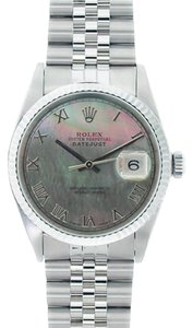 Rolex Rolex Men's DateJust Stainless Steel Black Mother of Pearl Dial Watch 16013