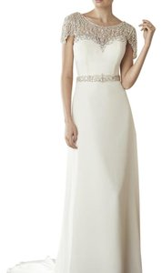Maggie Sottero Ivory Chiffon Juniper Feminine Wedding Dress Size 8 (M)