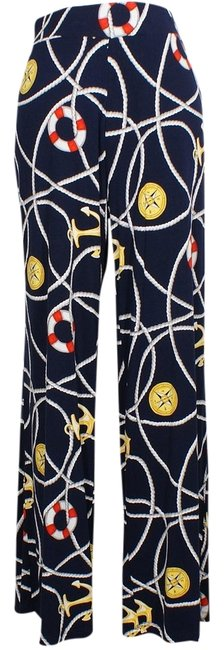 Item - Navy Multi Jersey Nautical Anchor-print Stretch Viscose 2x Pants Size 22 (Plus 2x)