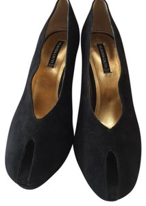 Claudia Ciuti Peep Toe Suede Stiletto Black Pumps