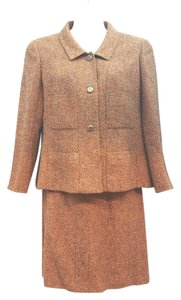Chanel CHANEL BOUTIQUE BROWN AND ORANGE TWEED WOOL BLEND SKIRT SUIT 48