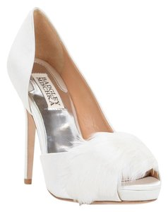 Badgley Mischka Piper Satin Bridal White Pumps