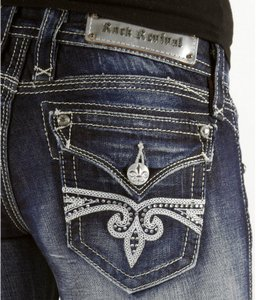 Rock Revival The Buckle Boot Cut Jeans-Dark Rinse