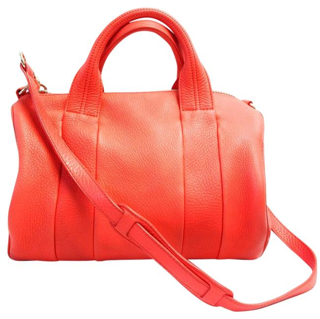 Item - Shoulder Messenger Rocco Satchel Pebbled Orange/Coral Lambskin Leather Cross Body Bag