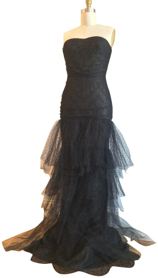 Marchesa Notte Black & Gold Lace Gown Mermaid Long Formal Dress Size ...
