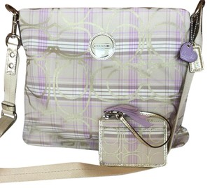 Coach Satchel in Lilac, Light Khaki, Gold