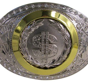 New Men Western Cowboy Show Off Buckle American Dollar Sign Silver Gold Big Money $ Bling