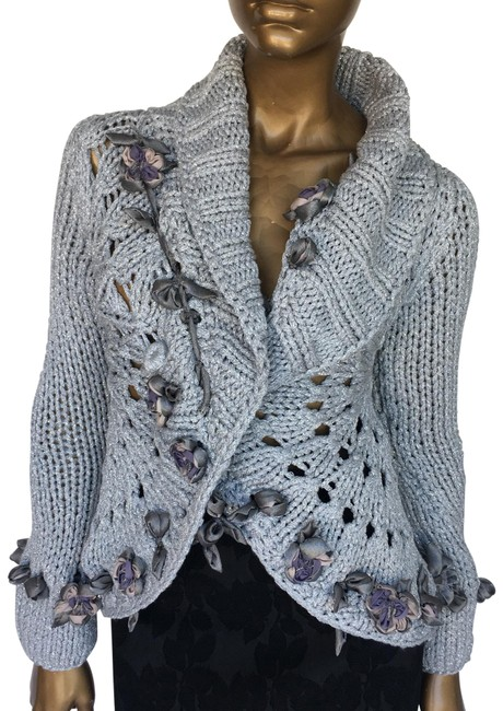Preload https://img-static.tradesy.com/item/17205646/blumarine-silver-sweater-spring-jacket-size-4-s-0-3-650-650.jpg