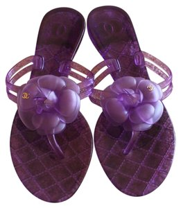 Chanel Jelly Camellia Gold Hardware Interlocking Cc Logo Purple Sandals