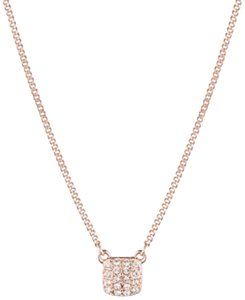 Givenchy Givenchy Rose Gold-Tone Crystal Pave Square Pendant Necklace
