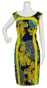 Versace Collection short dress Navy blue/yellow Bodycon Sleeveless on Tradesy