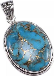 Other New Blue Copper .925 Silver Gemstone Handmade Pendant