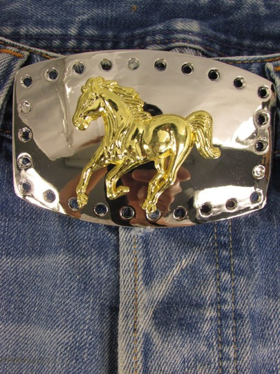 Alwaystyle4you New Men Women Belt Buckle Polished Western Style Silver Gold Horse Image 5