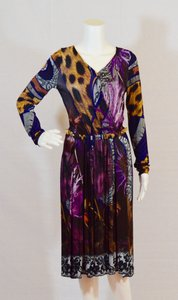 Roberto Cavalli short dress Purple/ Animal print Lace Longsleeve on Tradesy