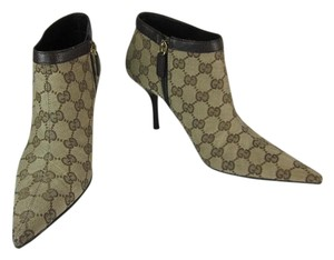 Gucci Logo Gg Khaki Leather Bootie Boots